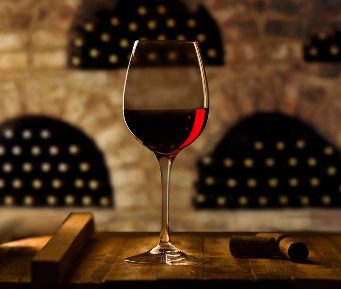Wine bottles in wine cellar
